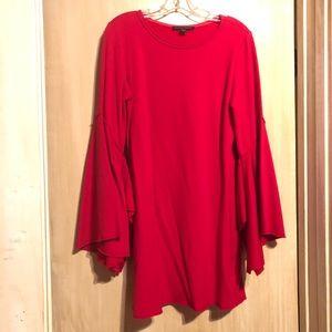 Casual Split Bell Sleeve Dress: M